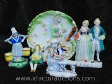 (4) Porcelain Figurines and (1) Figural Plate