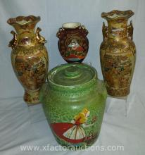 (3) Japanese Influence Vases & (1) Dutch Cookie Jar with Lid