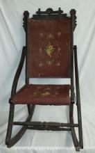 Antique Victorian Wood Frame Folding Rocking Chair