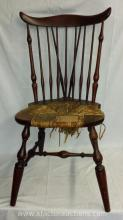 Vintage Nichols & Stone Co. Windsor Style Chair with Sea Grass Rush Seat