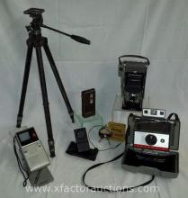 Assorted Vintage Camera, Electronics and Tri-pod