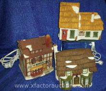 (2) Dickens' Series and (1) Dicken's Village Series Collectible Light-up Cottages