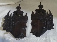 Pair of Teak Vintage Hand Carved Tribal Wall Decor