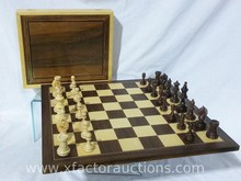 Teak/Birch Check/Chess Board with Boxed Chess Pieces