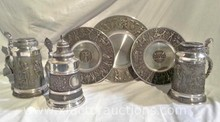 (3) Vintage Pewter Tankard/Stein with Lift Top Lid & Other