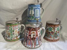 (4) German Ceramic Steins with Pewter Lift Top Lid