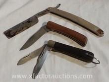 Vintage Straight Razor & (2) Knives