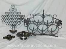 Vintage NK Sweden Heart Shapes Wrought Iron Candle/Flower Pot Holder, Pewter Candle Holder & Wine Rack