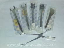 Georg Jensen - (2) Wrench Shaped Fork, Ice Tongs, (2) butter knives & (2) Short Tong Fork