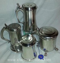 (4) Vintage New BM Norway Pewter Steins
