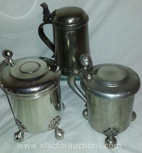 (3) Vintage Pewter Steins/Tankards