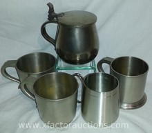 (5) Vintage Pewter Steins/Tankards