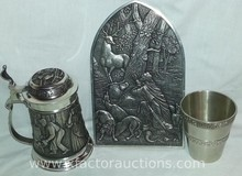 (3) Vintage Pewter Steins, Water Glass Wall Decor