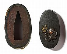HIROTSUNE: FUCHI-KASHIRA WITH MONKEY AND ROOSTER