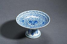 FOOTED DISH WITH BIRD AND LOTUS BLOSSOMS