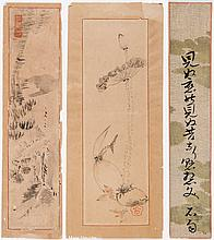 THREE INK PAINTINGS AND A CALLIGRAPHY