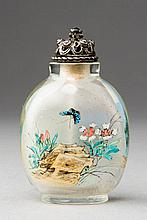SNUFFBOTTLE WITH MOUNTAINOUS LANDSCAPE, CARNATION, BUTTERFLY AND ROCK