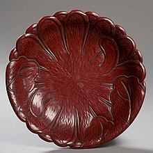 WORK OF A MODERN ARTIST: DISH WITH LOTUS LEAF RELIEF