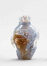 SNUFFBOTTLE WITH BIRDS, PLUM AND PINE TREES