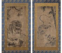 TALL PICTURE PAIR: TIGER UNDER BAMBOO AND PINE