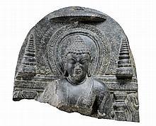 BUDDHA SHAKYAMUNI BETWEEN STUPAS