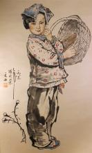 Chinese Painting of Girl signed Liu Wen Xi (1933- ), Dated 1987