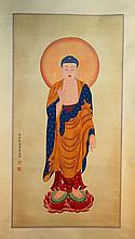 Chinese Watercolor Painting of Buddha on silk,signed and sealed Pu Ru(1896-1963)