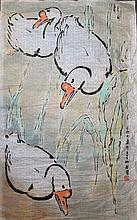 Chinese Watercolor Painting of Gooses, Attributed to Xu Bei Hong (1895-1953), dated year of 1939, in Singapore