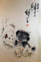 Chinese Painting of Dogs, signed and sealed Liu Ji You.