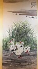 Chinese Watercolor Painting of Gooses, attributed to Xu Bei Hong, signed and sealed