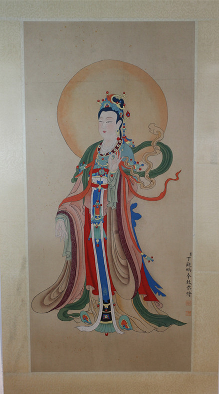 Chinese watercolor painting of Guan Yin Buddha, Signed and sealed Ding Guan Peng.