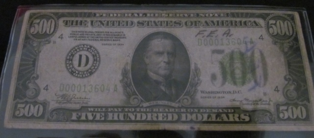 1934 $500 Bill - Bank of Cleveland