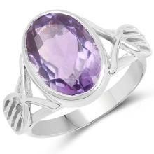 6.19 Carat Genuine Amethyst .925 Sterling Silver Ring #77513v3