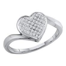 925 Sterling Silver White 0.05CT DIAMOND HEART RING #55905v3