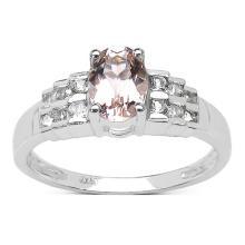 0.99 Carat Genuine Morganite & White Topaz .925 Sterling Silver Ring #77450v3