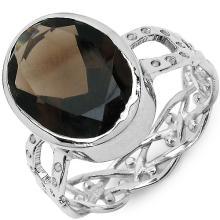 7.80 Carat Genuine Smoky Topaz .925 Sterling Silver Ring #77494v3