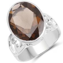 7.80 Carat Genuine Smoky Quartz .925 Sterling Silver Ring #77497v3