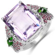 13.44 Carat Genuine Amethyst, Chrome Diopside & Rhodolite .925 Sterling Silver Ring #78067v3