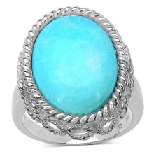 11.90 Carat Genuine Turquoise Sterling Silver Ring #77400v3