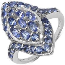1.40 Carat Genuine Tanzanite .925 Streling Silver Ring #77445v3