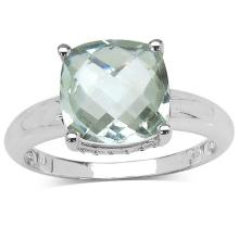 3.40 ct. t.w. Green Amethyst and White Topaz Ring in Sterling Silver #77423v3
