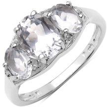 2.20 Carat Genuine Crystal Quartz & White Topaz .925 Sterling Silver Ring #77442v3