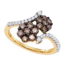 10K Yellow-gold 0.75 CT COGNAC DIAMOND LADIES FASHION RING #57725v3