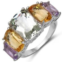 11.00 Carat Genuine Amethyst & Citrine .925 Sterling Silver Ring #78104v3