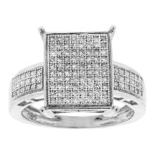 925 Sterling Silver White 0.33CT DIAMOND MICRO PAVE RING #55906v3