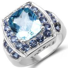 5.73 Carat Genuine Tanzanite & Blue Topaz .925 Sterling Silver Ring #78085v3