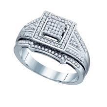 925 Sterling Silver White 0.33CT DIAMOND FASHION BRIDAL RING #55903v3
