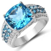 5.91 Carat Genuine Blue Topaz .925 Sterling Silver Ring #78090v3