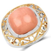 Two Tone Plated 12.80 Carat Genuine Peach Moonstone .925 Sterling Silver Ring #77438v3