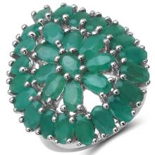 8.10 Carat Genuine Emerald .925 Sterling Silver Ring #78088v3